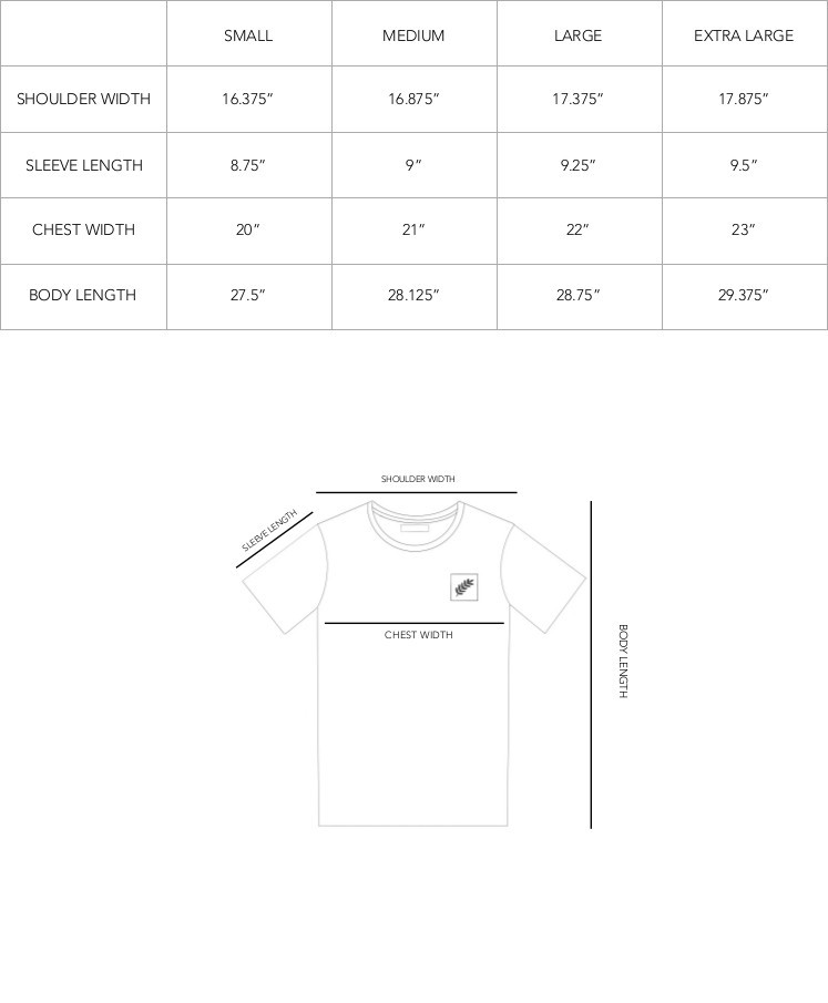 Metier Sizing Chart